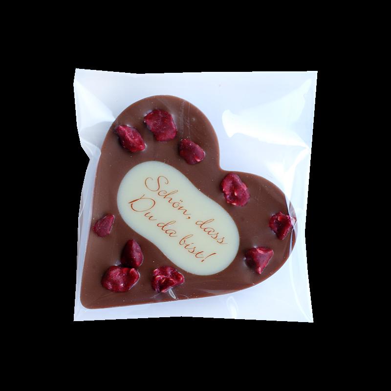 Schokoladenherz mit Topping und Aufdruck