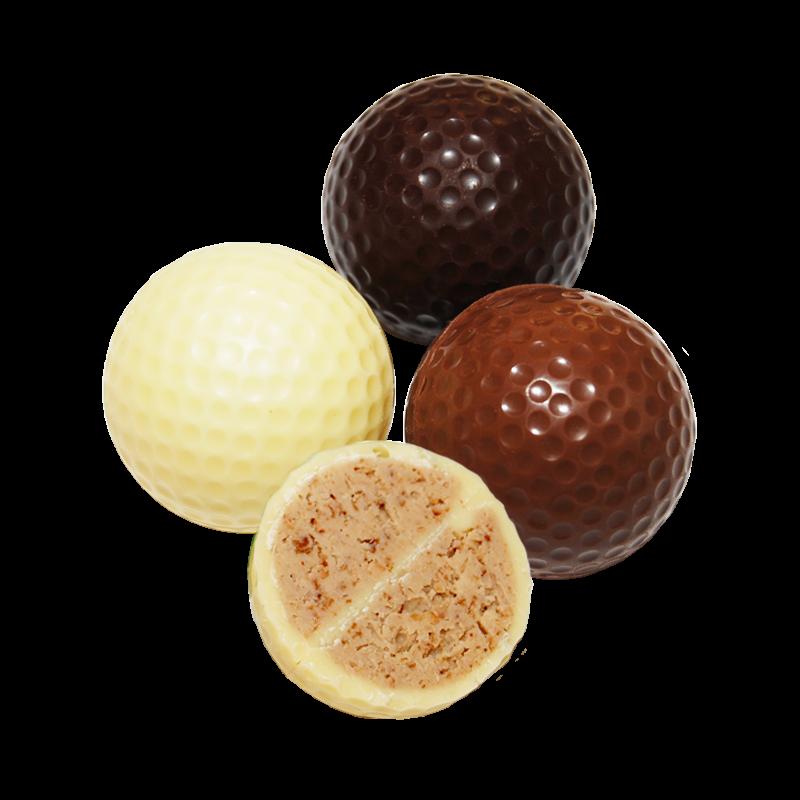 Schokoladengolfball mit Knuspernougatfüllung lose