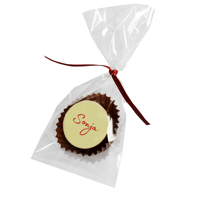 Bedruckte Pralinen mit Gastnamen einzeln verpackt im Tütchen