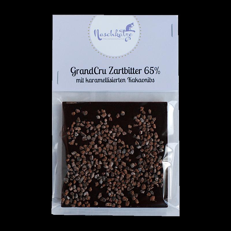 Schokoladentafel Zartbitter 65% mit karamellisierten Kakaobohnensplittern