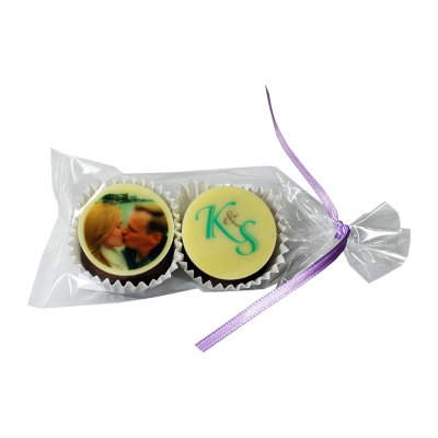 2 Hochzeitspralinen verpackt im Tütchen