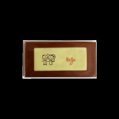 Minitafel 8x4cm Tischkarte aus Schokolade Motiv Liebespaar mit Gastnamen