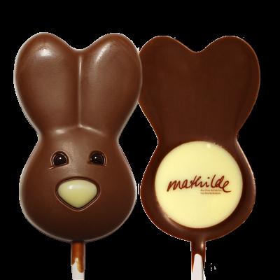 Schokoladenlolli Osterhase mit Logo rückseitig