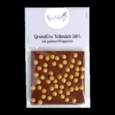 Schokoladentafel Vollmilch mit goldenen Karamellkrispperlen