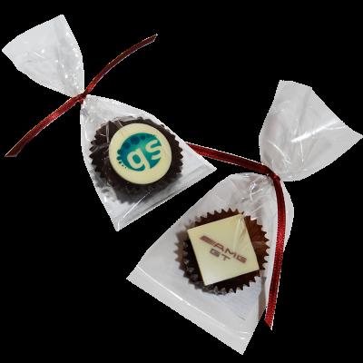 Pralinen mit Logo einzeln verpackt im Tütchen