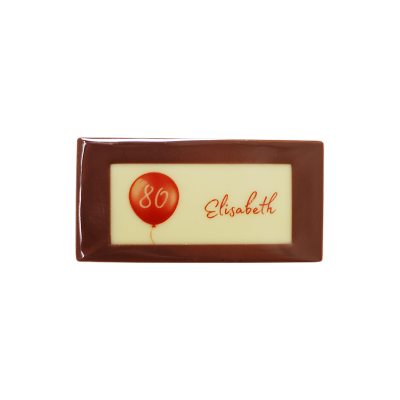 Minitafel 8x4cm Tischkarte aus Schokolade Motiv Luftballon mit Gastnamen