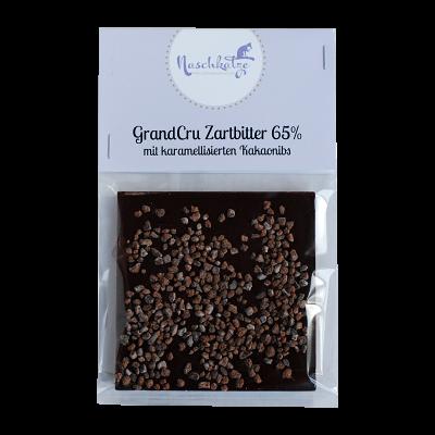 Schokoladentafel Zartbitter 65% mit karamellisierten Kakaobohnensplittern vegan