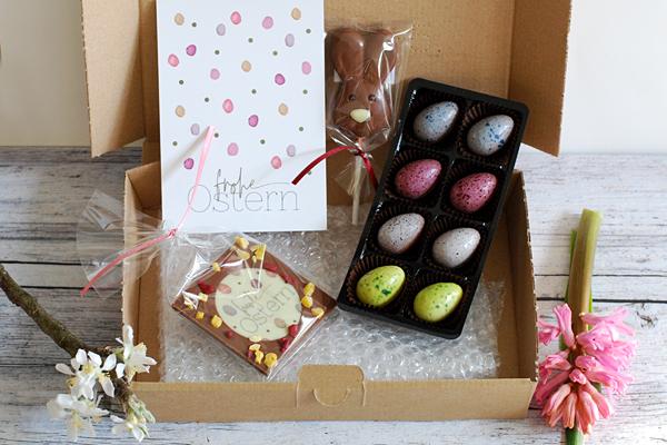 Ostergeschenke, Schokoladenpräsente, Schokoladeneier, Pralineneier